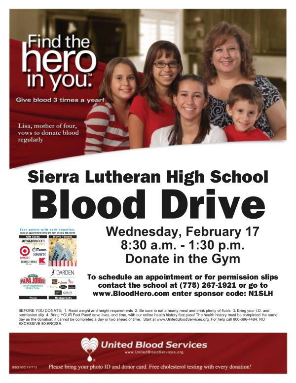 SLHS to Host Blood Drive